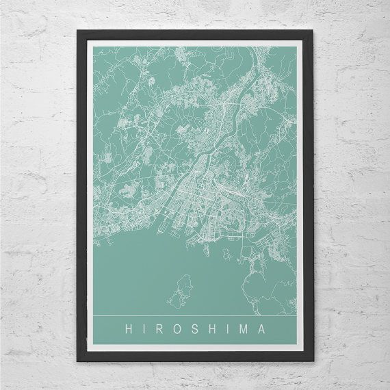 HIROSHIMA CITY MAP Art Print - Line Art City Map - Japan Japanese Asia Hiroshima Map Art Minimalist Art Print Customizable City Map