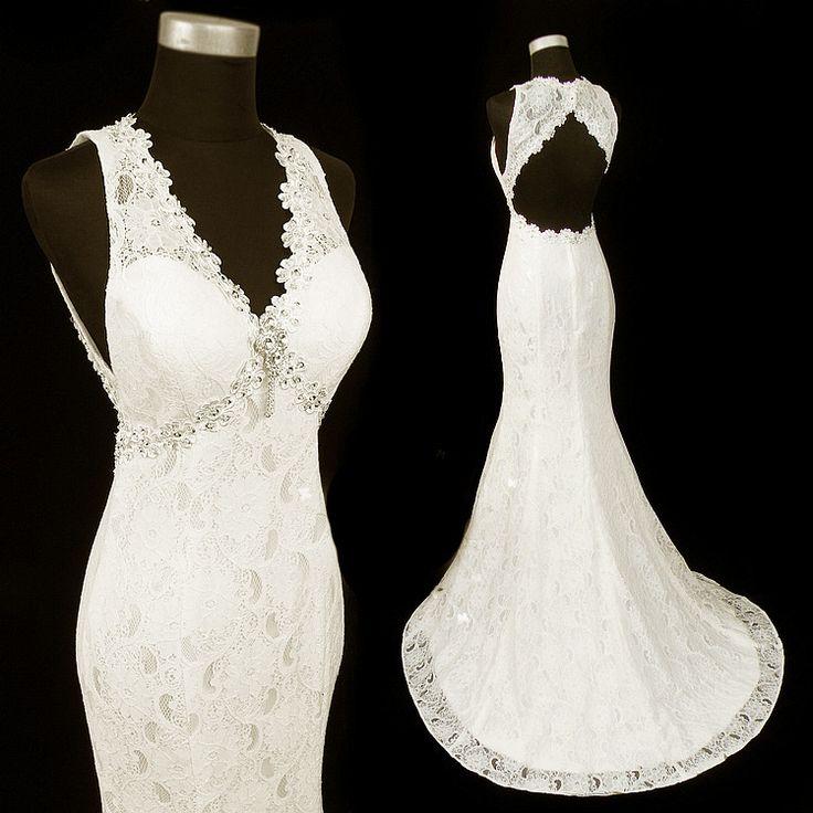 Rochie de mireasa ivory stil vintage cu spatele gol si trena scurta