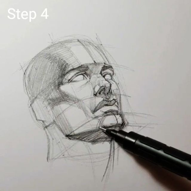 Drawing How To Draw Head Tilted Up Using Cylinder And Box Last Step Of Four Portrait Drawing Anatomy Drawing Guy Drawing