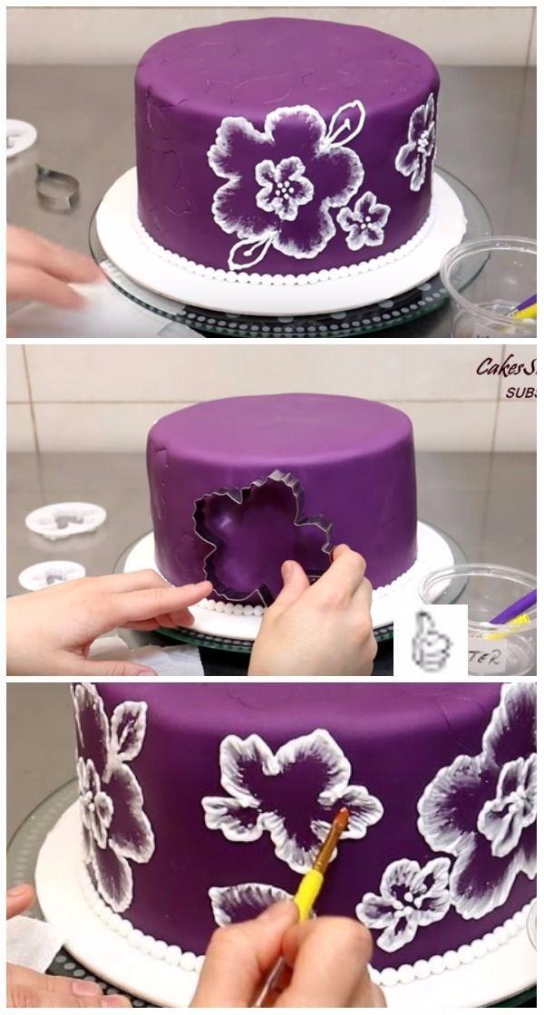 DIY Spitzen Pinsel Pinsel Stickerei Kuchen Dekorieren Tutorial Video – Essen & Trinken …   – Kuchen   Torten   Rezepte   Cakes
