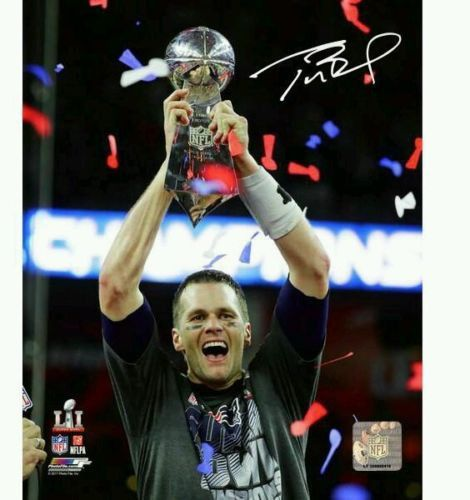 Tom Brady Autographed 8x10 or 16x20 With Trophy Photo- Steiner Sports Authenticated