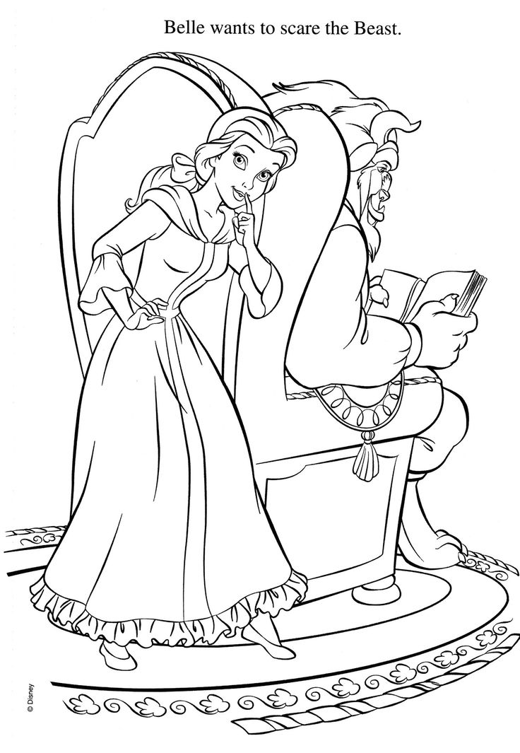 belle wants to scare the beast coloring pages