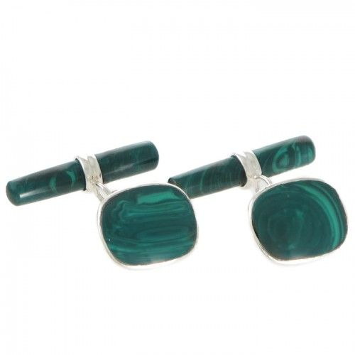 A pair of silver and Malachite set cufflinks. www.rutherford.com.au