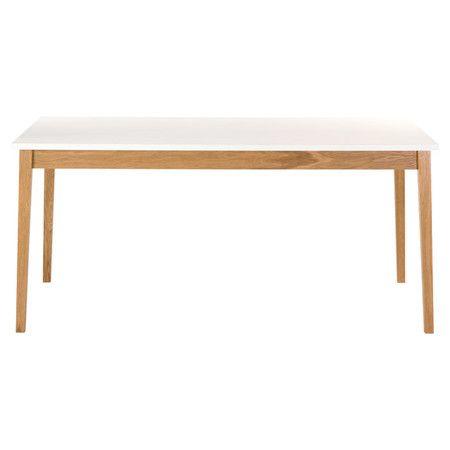 Klare Konturen und natürliches Holz schaffen bei diesem Esstisch einen charmanten Retro-Look. Durch das weiße Top entsteht ein spannender Kontrast, der ein...