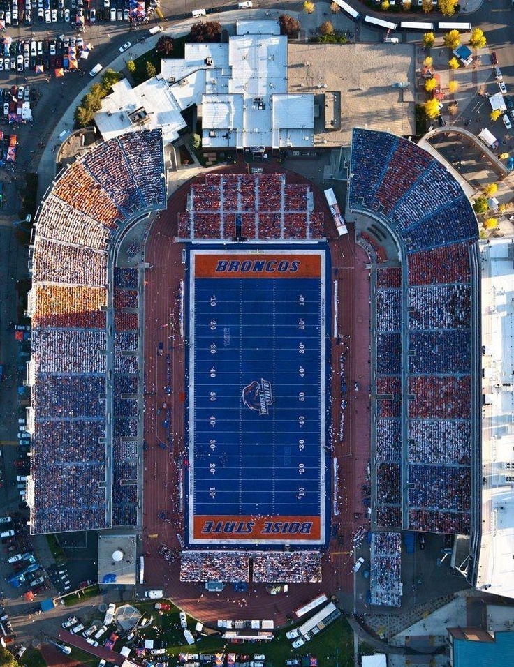 Now that is how you color coordinate a stadium!! Boise state style!!