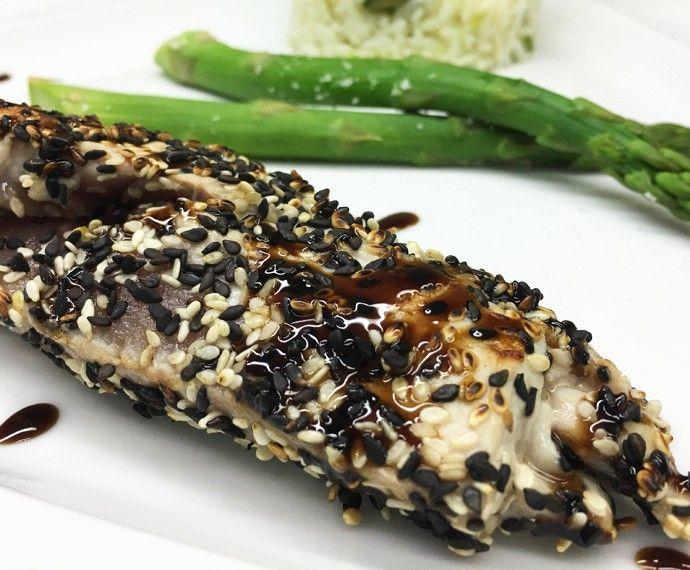 Grey - Atum em Crosta com Arroz de Jasmim e Aspargos Frescos   Peixes e frutos do mar   Mais Você - Receitas Gshow