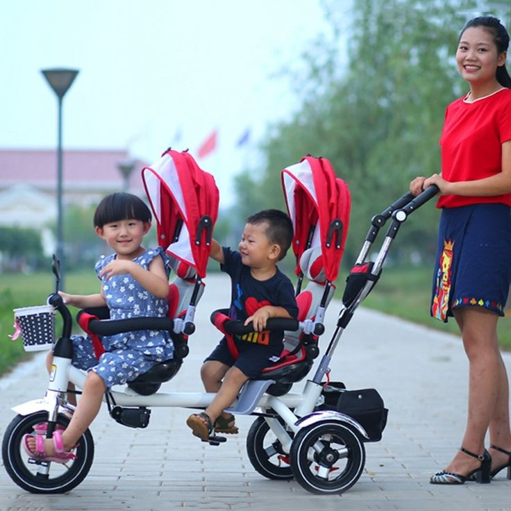 195.00$  Watch here - http://aligfh.shopchina.info/1/go.php?t=32794260726 - Hot Sale Tricycle for Twins Safety Kids Double Stroller Pram Twins Basket Pushchairs Baby Twins Stroller Folding Tricycle   #bestbuy