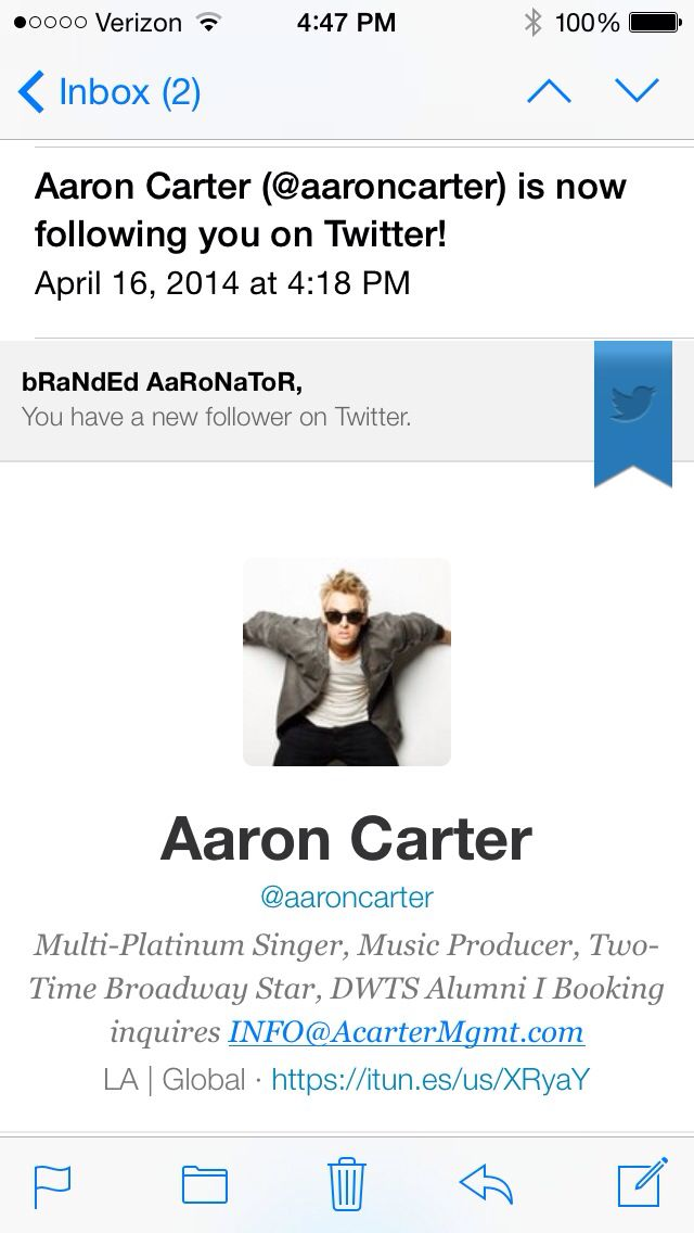 Follow the REAL AARON CARTER on twitter (and Instagram) @Aaron Carter!! Stay up to date with everything Aaron Carter!