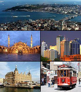 De izquierda a derecha y de arriba a abajo: El Cuerno Dorado entre Gálata y Seraglio; la Mezquita Azul; el distrito financiero de Maslak; el Terminal de Haydarpaşa, y la Avenida de Istiklal.