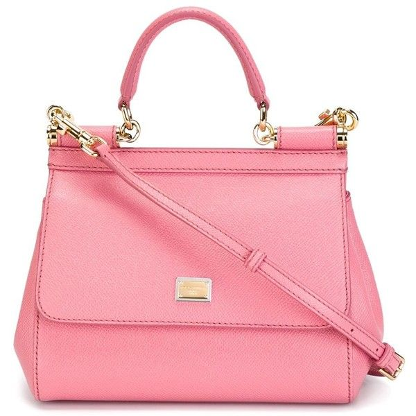 Dolce & Gabbana Small Sicily Tote (7.715 HRK) ❤ liked on Polyvore featuring bags, handbags, tote bags, top handle handbags, genuine leather tote, pink leather purse, pink purse and pink leather tote bag