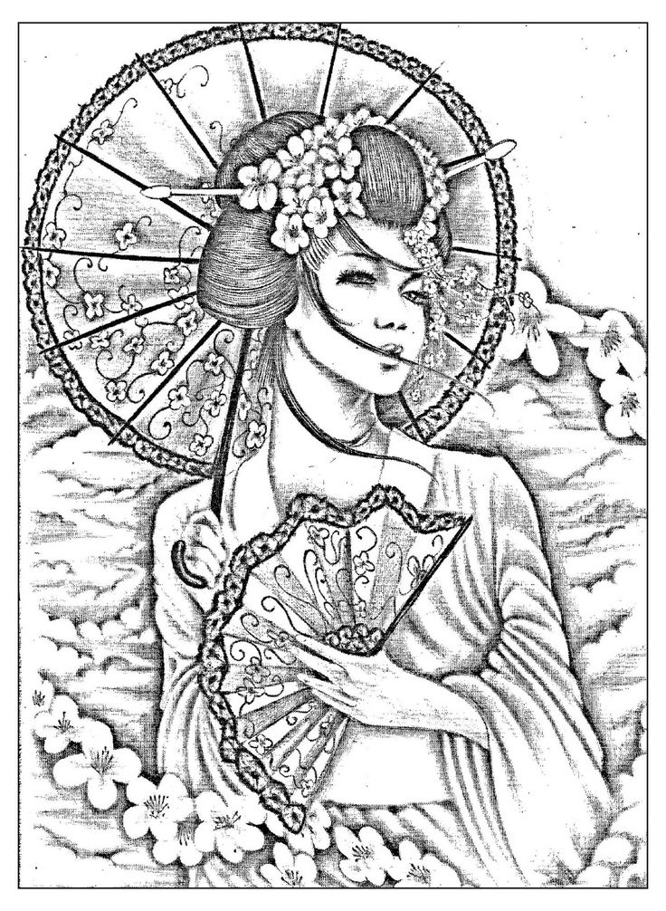 Free coloring page coloring-geisha-japan-tatoo. A beautiful Black & White drawing of a japonese with umbrella and évantail