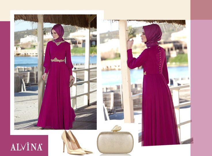 Şıklığınızı konuşturacak Gold ve Fuşya harmonisi.. #alvina #alvinamoda #alvinafashion #alvinaforever #hijab #hijabstyle #tesettür #fashion #stylish #newcollection #eveningdress #gold #fuşya