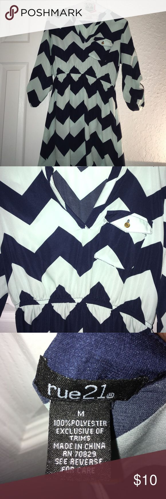 Blue Chevron Print Dress Blue Chevron Print Dress. great condition! All items come from a smoke and pet free home. Offers accepted! Rue 21 Dresses