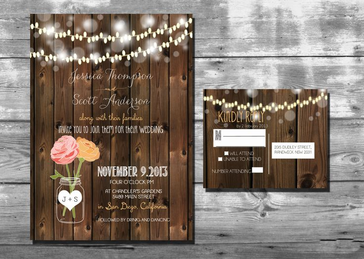 Rustic Wedding Invitation with lights and mason by RockStarPress, $20.00