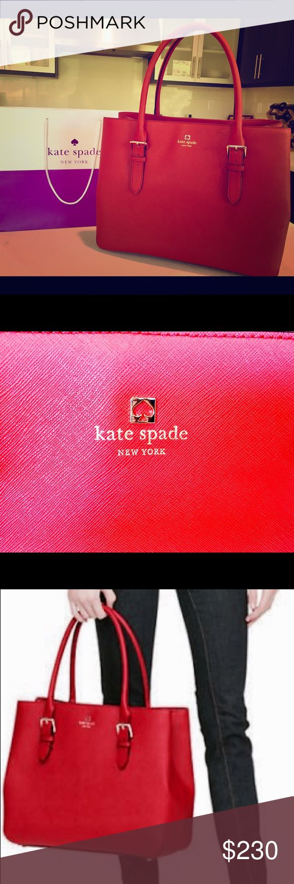 "Kate Spade cove street airel red Authentic Kate Spade cove street airel in pillow box red. Cross hatched leather with matching trim. Custom woven lining with 14-karat light gold plated hardware. Style #: WKRU2326. Adjustable shoulder straps with dividing zipper pocket, double slide pockets and interior zipper pocket. 11.9""h x 15""w x 6.2""d, drop length: 8.26""  SOLD OUT on Kate Spade ♠️ online shop. Amazon is selling for $349.99. Perfect Valentine's 🎁 💕❣️ kate spade Bags Totes"