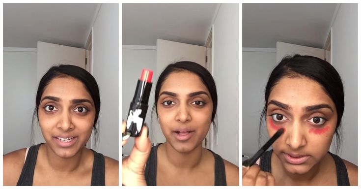 Beauty hack by a beauty blogger. She smears red lipstick under her eyes. The result? Gorgeous! This video will surprise you.