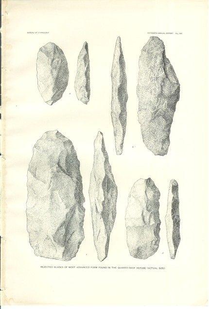 Arrowheads/slate rock/limestone? Beautiful plate from an 1897 book on Native Americans, via Holcroft on Etsy.