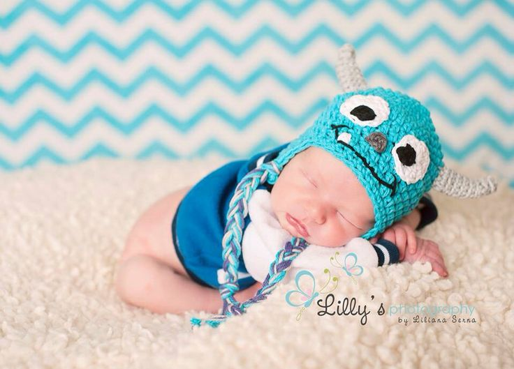eeb2f9d307d ... newborn twin set monsters inc mike and sulley handmade crochet disney  photo prop hats ...