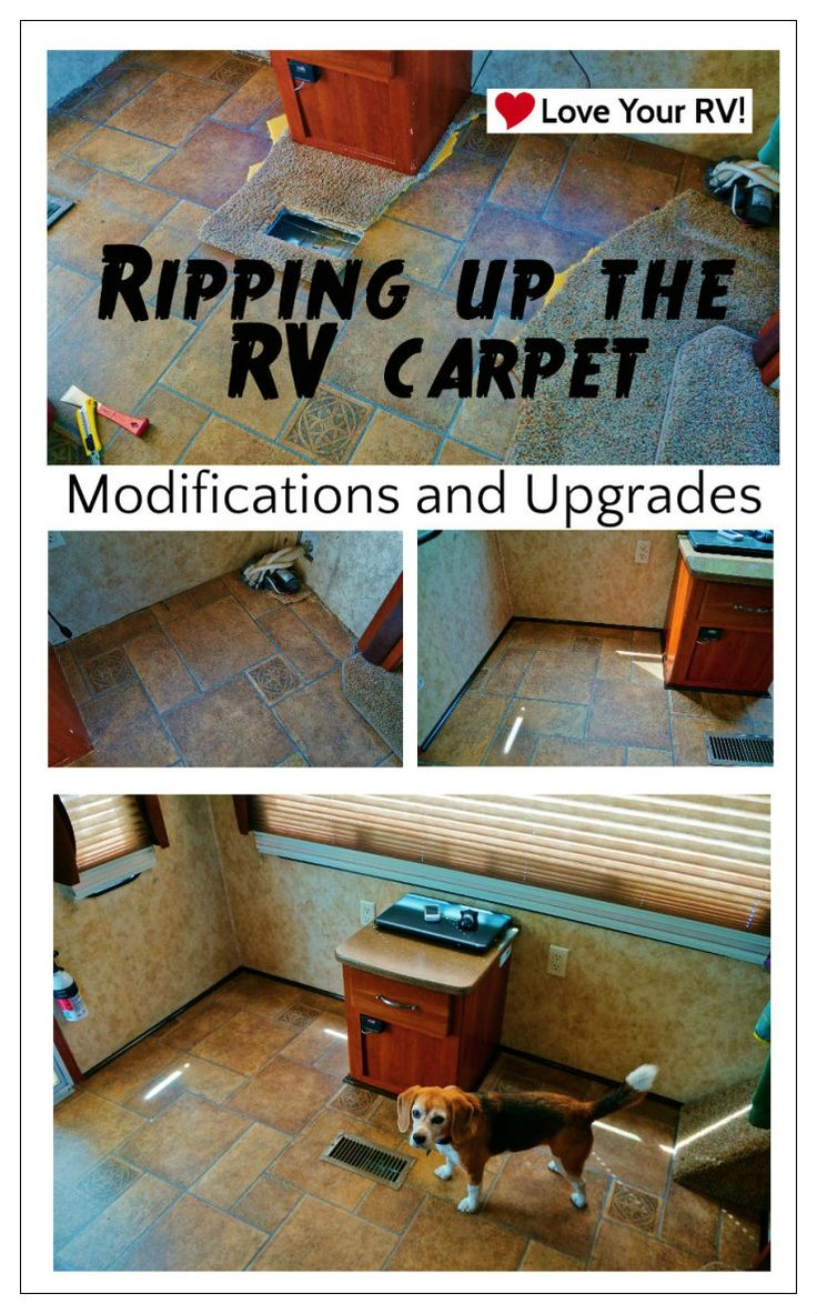 Ripping Out My Fifth Wheels RV Carpet - Rather than spend hours trying to get it clean, this time I decided to just rip it out! I really don't like carpets anyway. - see blog post for full details - http://www.loveyourrv.com/ripping-fifth-wheels-rv-carpet #RV #Carpet #Mod