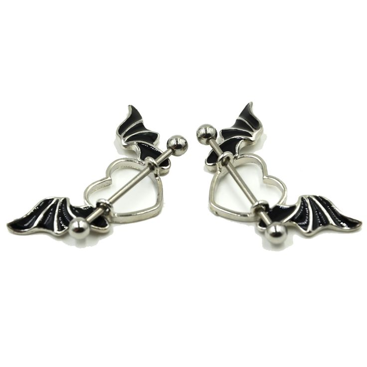 Stainless Steel Bat Wing Nipple Shield Ring Angel Heart Piercing Barbell Jewelry 14g www.bionto.com
