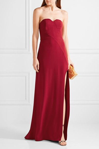 Halston Heritage - Strapless Stretch-crepe Gown - Claret