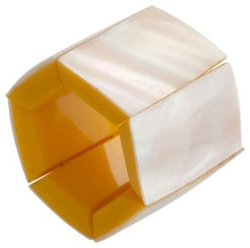 White Oyster Napkin Ring, Set of 6 contemporary napkin rings