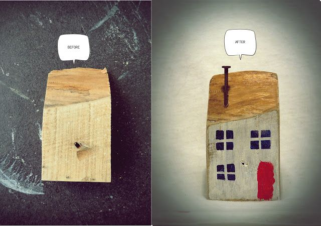 Little house made of wood scrap