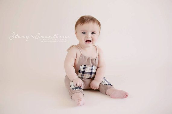 The six month baby  THOMAS  upcycled sitter romper