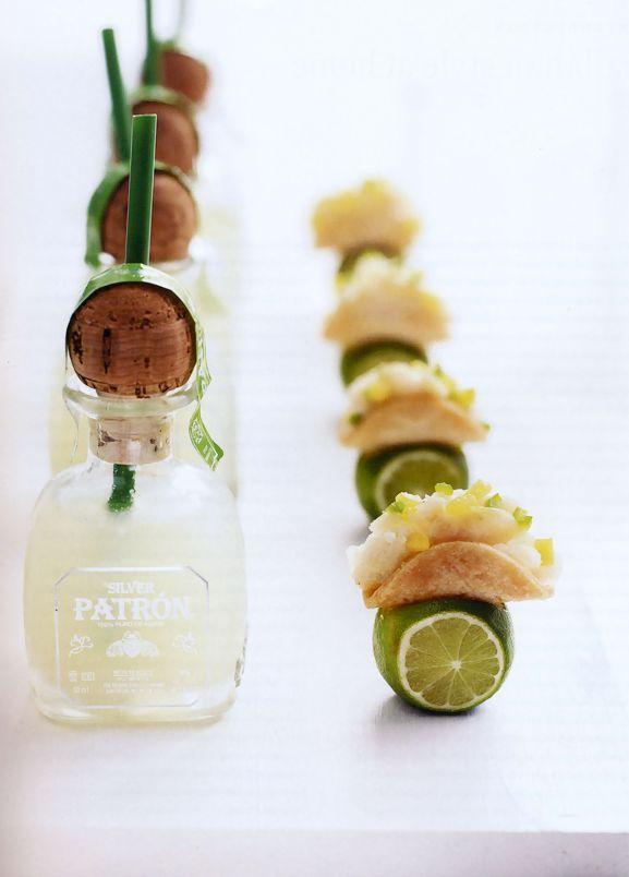Mini fish tacos and Patron