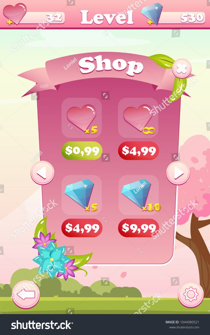 Vector shop game user interface with flowers, settings, gems, hearts and buttons