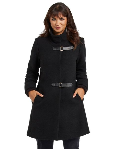 Whistle The Buckle Front Coat, Black - This high-neck coat features large buckles on the front. The coat has side pockets and knit added to the sleeves to create a double-layered effect.