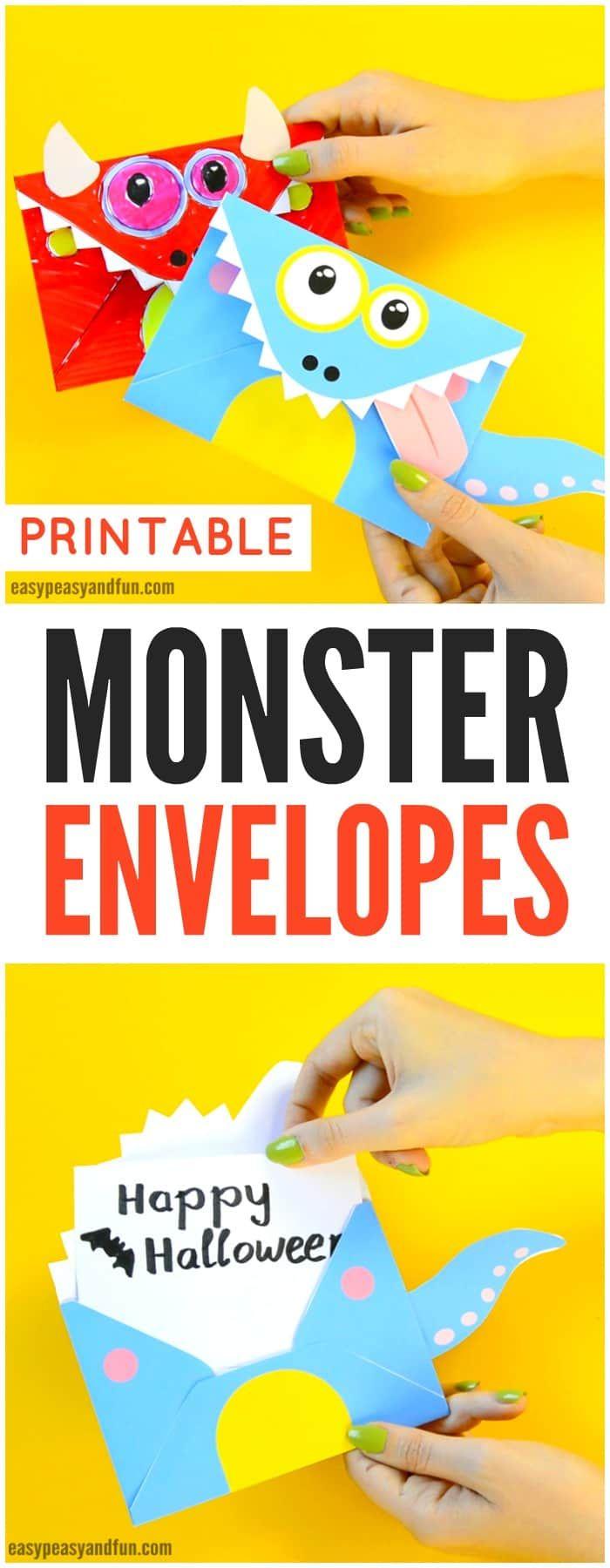 Printable Monster Envelopes Halloween Crafts for Kids