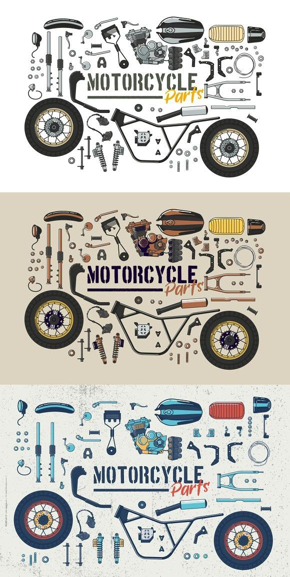 Motorcycle Parts Vector Set Best Objects Drawings Motorcycle