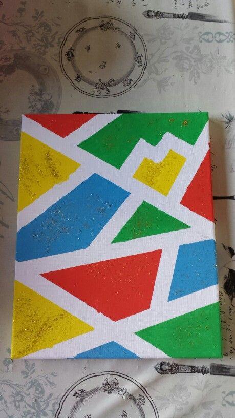 Canvas beschilderd.