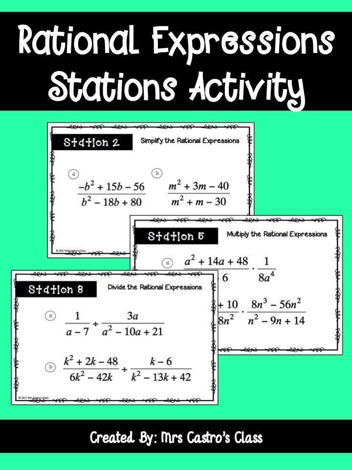 Rational Expressions Activity for high school Algebra. Simplifying rational expressions, adding and subtracting rational expressions, and multiplying a dividing rational expressions