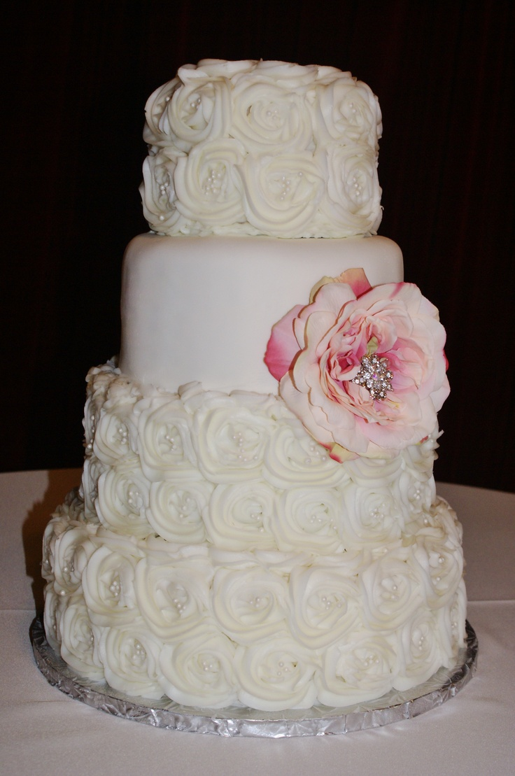 22 best wedding cakes images on pinterest cake wedding hand piped buttercream roses wedding cake with silk flower and brooch blossom centerpiece junglespirit Gallery