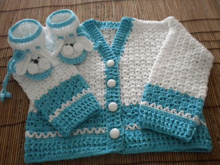 patines y saco para bebe a crochet
