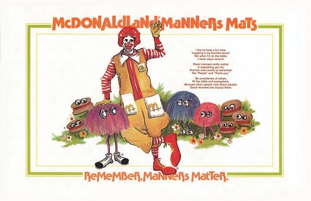 McDonaldland Manners Mats - Ronald McDonald - 1970's by JasonLiebig, via Flickr