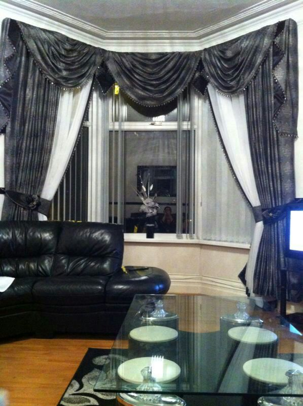 Bay Window Swags And Tail Grey And White Curtain Swag