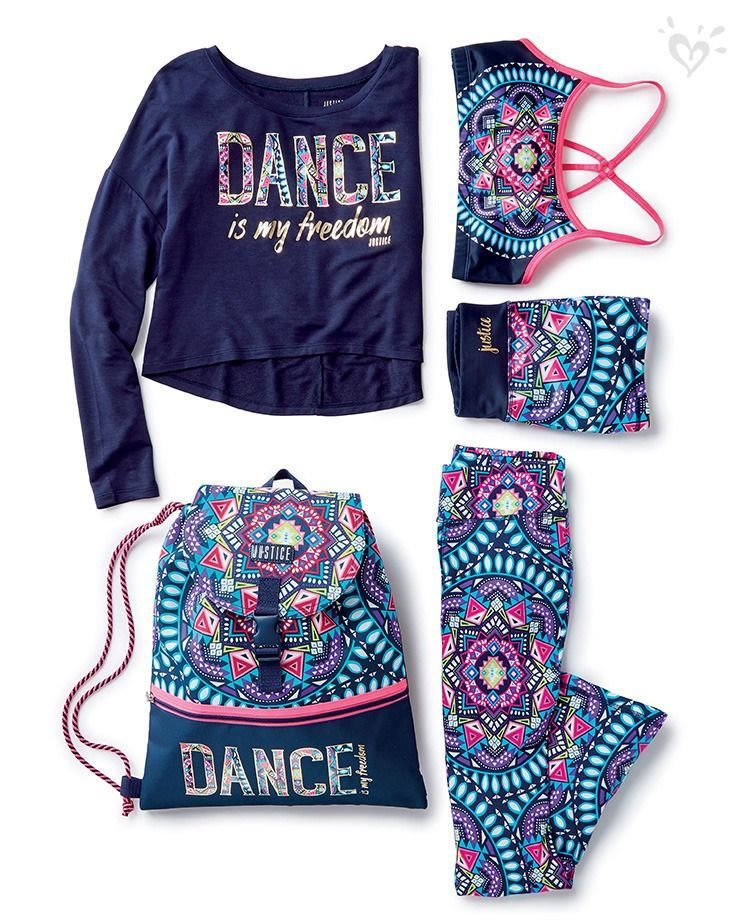 Made-to-match dancewear in bright, Justice-exclusive prints.