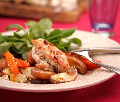 Recept: Grekisk ugnsstekt kyckling med fetaost