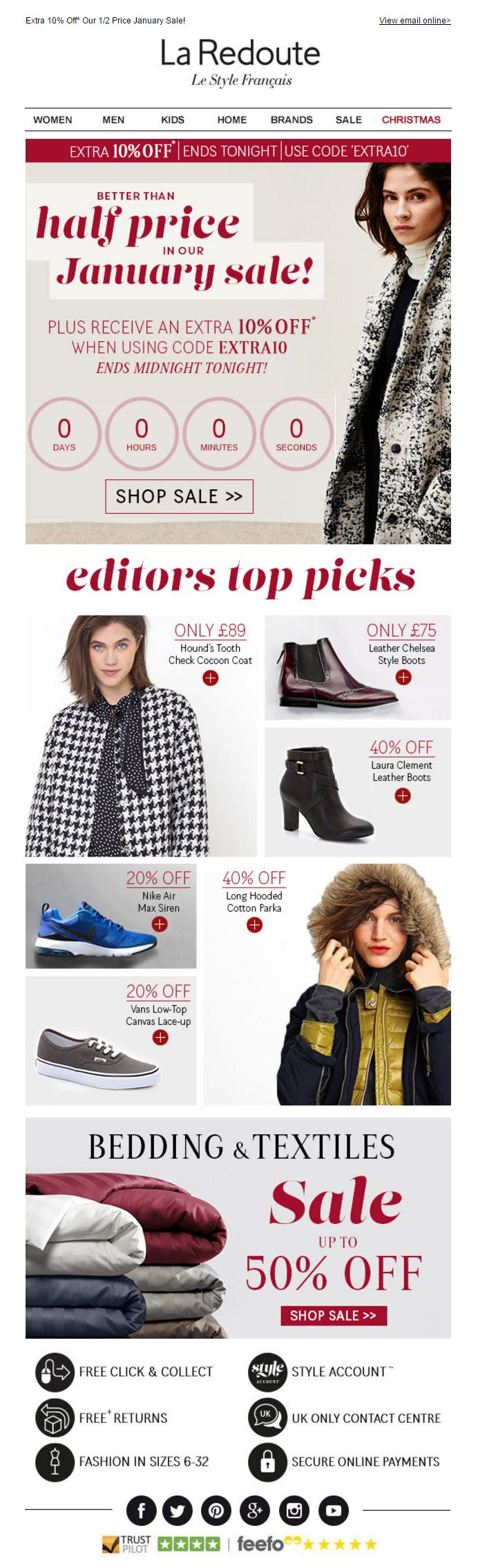 La Redoute Newsletter with Countdown to end of January Sales Coupon Code discount, plus product recommendations #EmailMarketing #CountdownTimer #Recommendations #Fashion