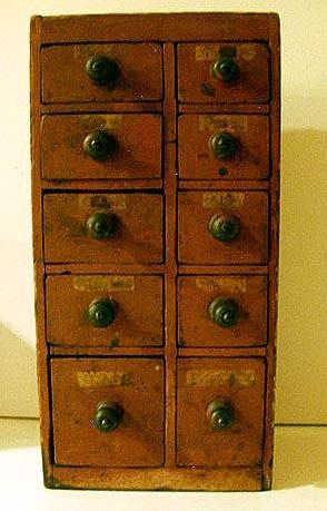 10 Drawer Spice Box, circa 1880's