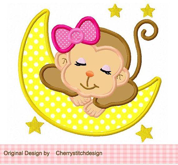 Dormir bebé mono para apliques digital por CherryStitchDesign
