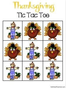 Thanksgiving Tic Tac Toe Game Print all the pieces and laminate.  Cut the 12 game pieces apart and store them in an envelope until ready to play. See all my preschool printables.