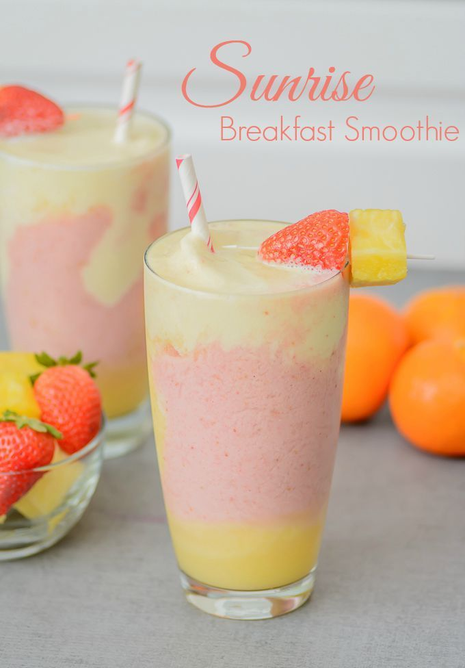 Sunrise Breakfast Smoothie. The perfect way to kickstart your morning.Packed full of protein, probiotics and fruit, your whole family will love waking up to this.
