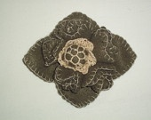 Pale brown felt flower brooch with beige knitted crochet