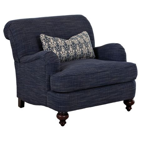 Lend a touch of breezy style to your living room or parlor with this chic accent chair, showcasing a rolled back and turned legs.  P...