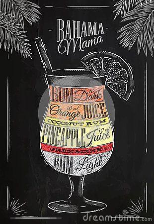 Banama mama cocktail chalk