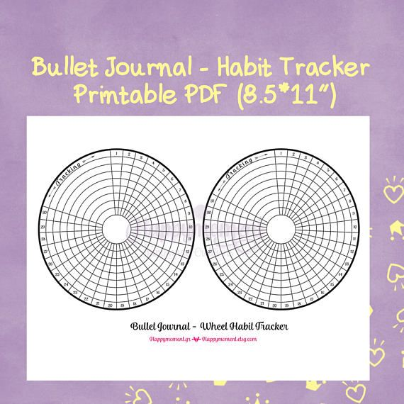 Circular habit tracker for bullet journaling! Also blank, so as to fill the dates yourself! You will get 3 PDFs!